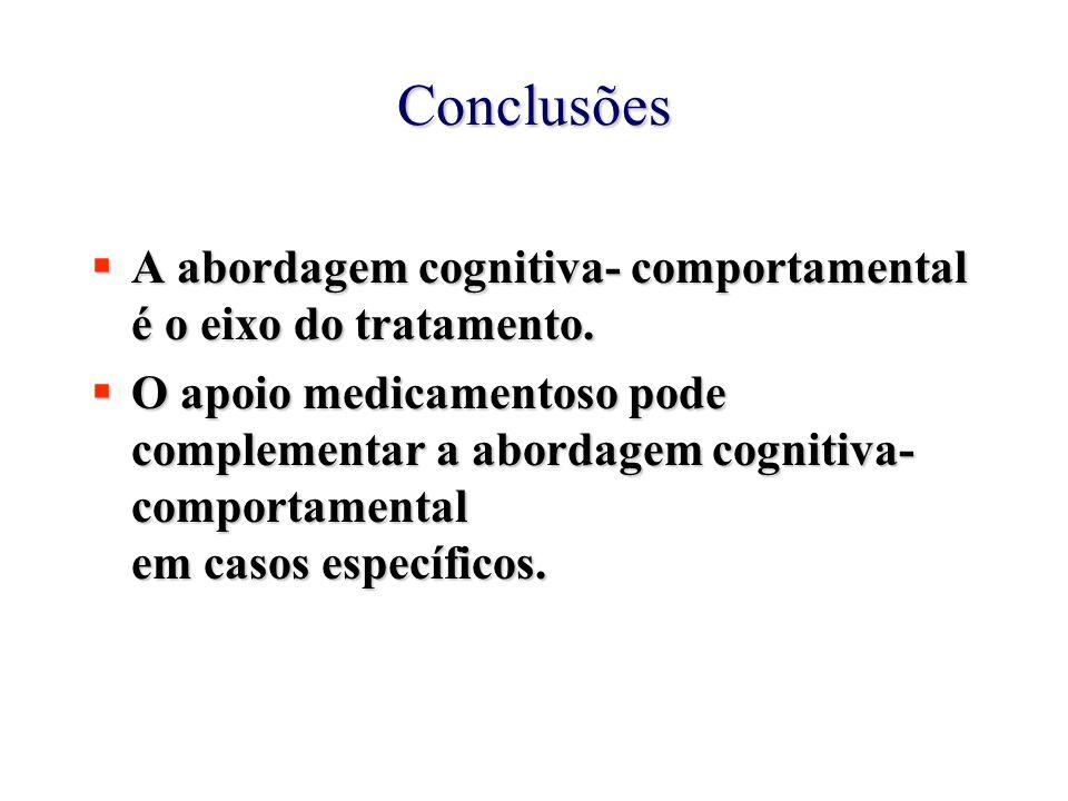 Conclusões A abordagem cognitiva- comportamental é o eixo do tratamento.