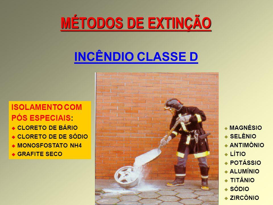 MÉTODOS DE EXTINÇÃO INCÊNDIO CLASSE D ISOLAMENTO COM PÓS ESPECIAIS: