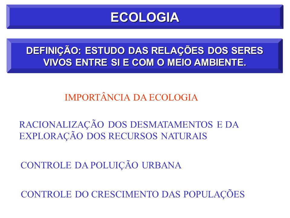 ECOLOGIA DEFINIÇÃO: ESTUDO DAS RELAÇÕES DOS SERES VIVOS ENTRE SI E COM O MEIO AMBIENTE. IMPORTÂNCIA DA ECOLOGIA.