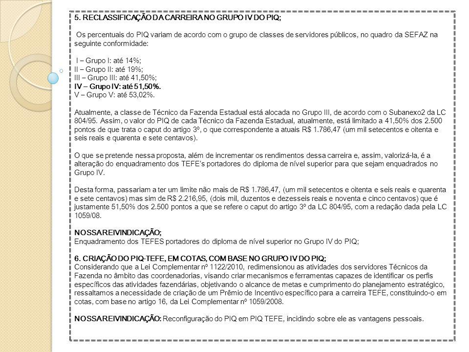 5. RECLASSIFICAÇÃO DA CARREIRA NO GRUPO IV DO PIQ;