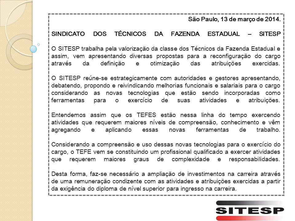 São Paulo, 13 de março de 2014. SINDICATO DOS TÉCNICOS DA FAZENDA ESTADUAL – SITESP.