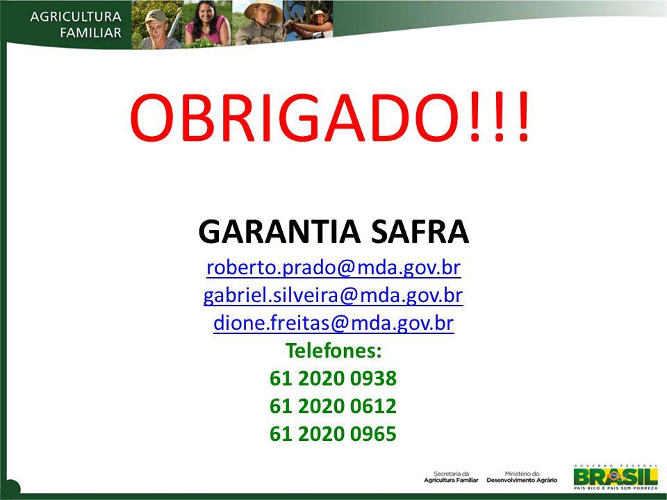 OBRIGADO!!! GARANTIA SAFRA roberto.prado@mda.gov.br