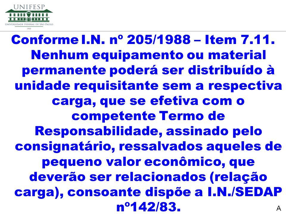 Conforme I.N. nº 205/1988 – Item 7.11. Nenhum equipamento ou material permanente poderá ser distribuído à unidade requisitante sem a respectiva carga, que se efetiva com o competente Termo de Responsabilidade, assinado pelo consignatário, ressalvados aqueles de pequeno valor econômico, que deverão ser relacionados (relação carga), consoante dispõe a I.N./SEDAP nº142/83.