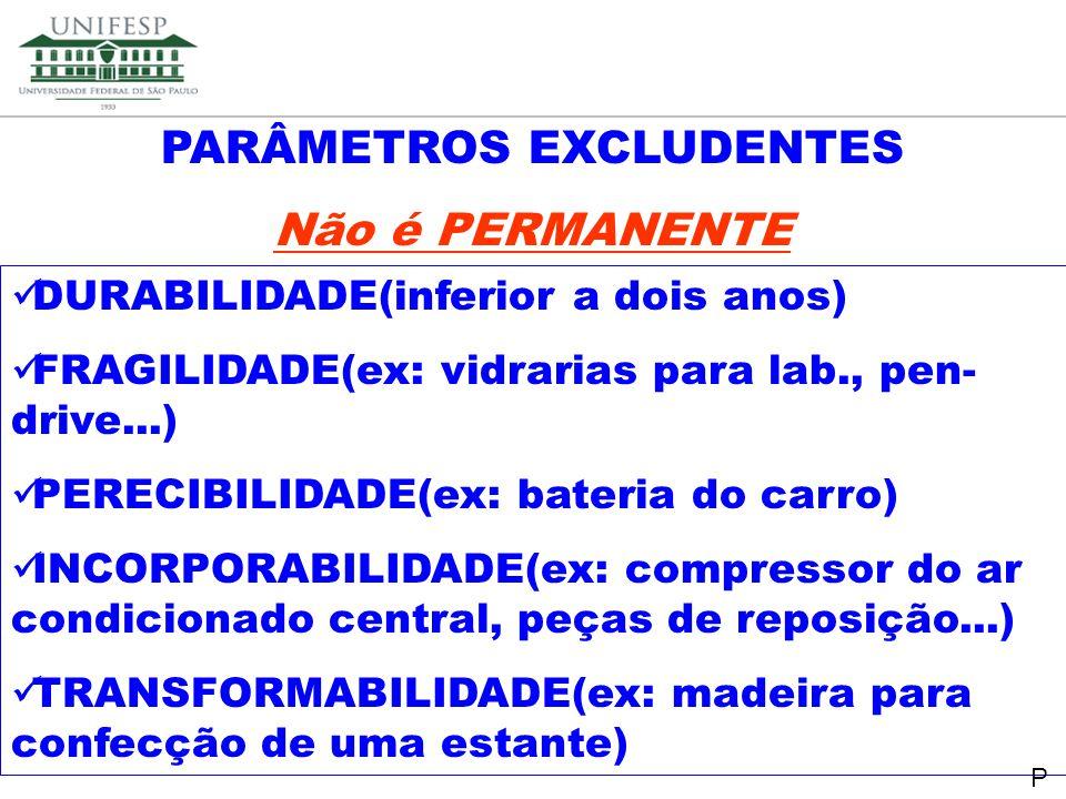 PARÂMETROS EXCLUDENTES