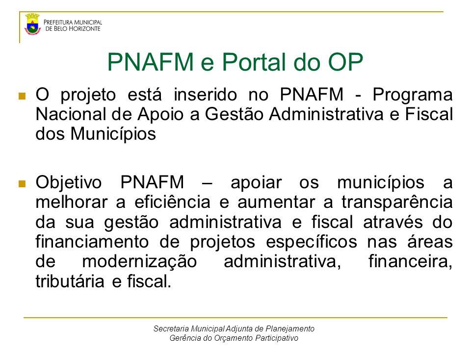 PNAFM e Portal do OP O projeto está inserido no PNAFM - Programa Nacional de Apoio a Gestão Administrativa e Fiscal dos Municípios.