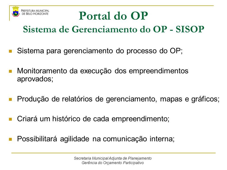 Portal do OP Sistema de Gerenciamento do OP - SISOP