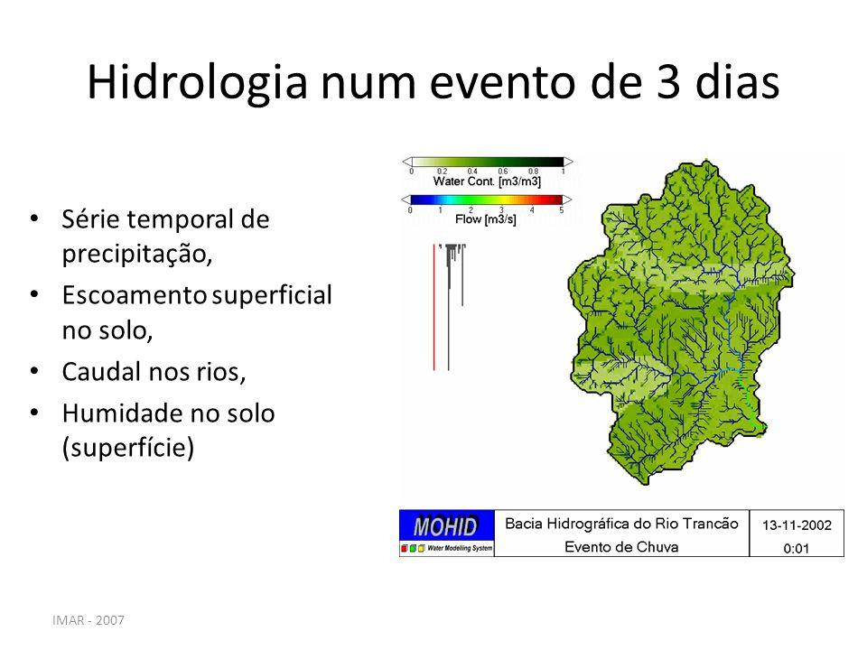 Hidrologia num evento de 3 dias