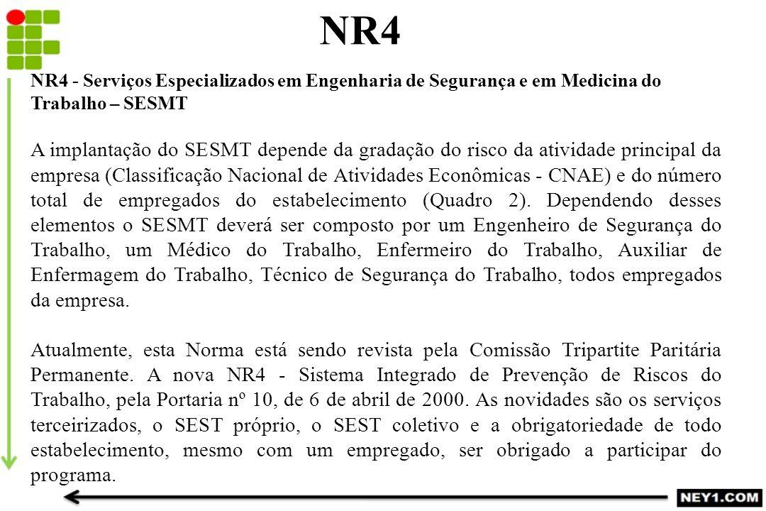 NR4 NR4 - Serviços Especializados em Engenharia de Segurança e em Medicina do Trabalho – SESMT.