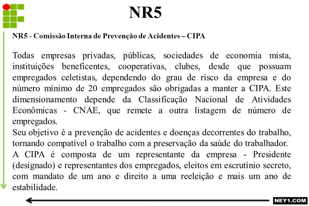 NR5 NR5 - Comissão Interna de Prevenção de Acidentes – CIPA.