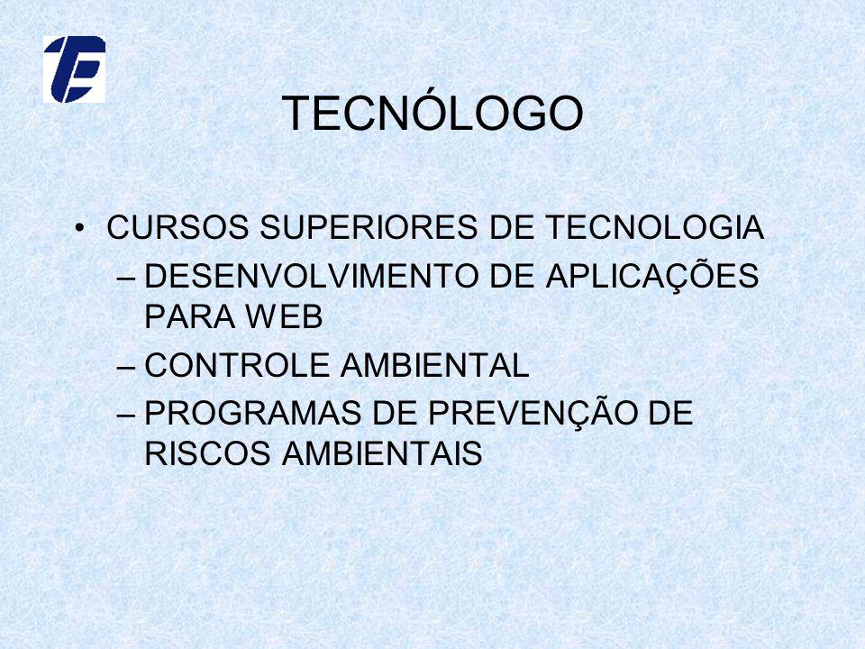 TECNÓLOGO CURSOS SUPERIORES DE TECNOLOGIA