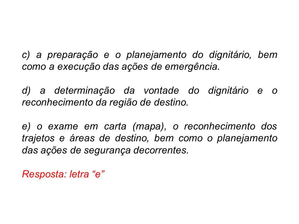 c) a preparação e o planejamento do dignitário, bem como a execução das ações de emergência.
