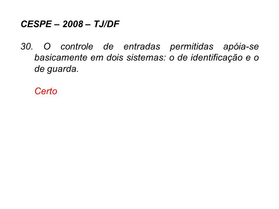 CESPE – 2008 – TJ/DF 30. O controle de entradas permitidas apóia-se basicamente em dois sistemas: o de identificação e o de guarda.