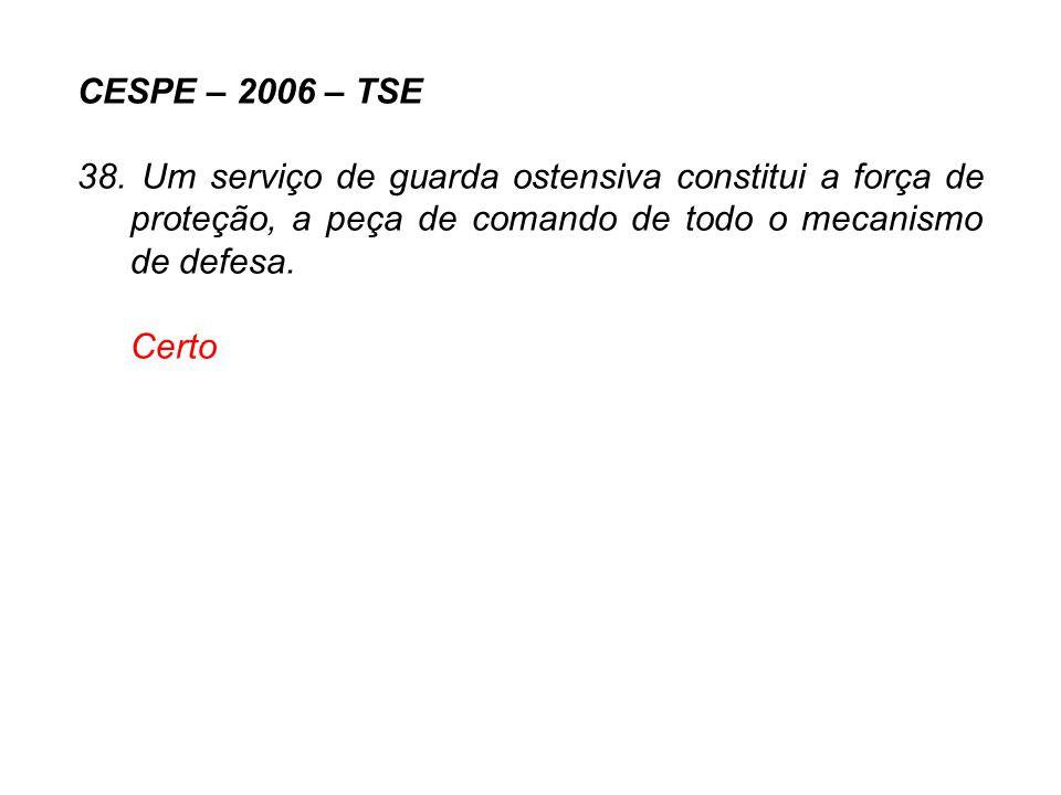 CESPE – 2006 – TSE 38. Um serviço de guarda ostensiva constitui a força de proteção, a peça de comando de todo o mecanismo de defesa.