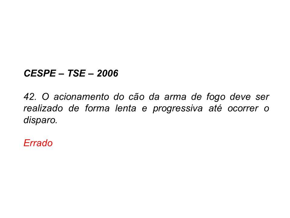 CESPE – TSE – 2006 42. O acionamento do cão da arma de fogo deve ser realizado de forma lenta e progressiva até ocorrer o disparo.