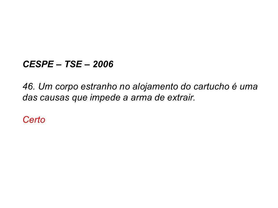 CESPE – TSE – 2006 46. Um corpo estranho no alojamento do cartucho é uma das causas que impede a arma de extrair.