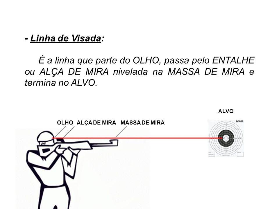 - Linha de Visada: É a linha que parte do OLHO, passa pelo ENTALHE ou ALÇA DE MIRA nivelada na MASSA DE MIRA e termina no ALVO.