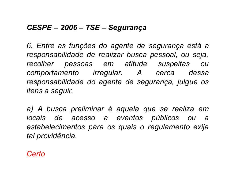 CESPE – 2006 – TSE – Segurança