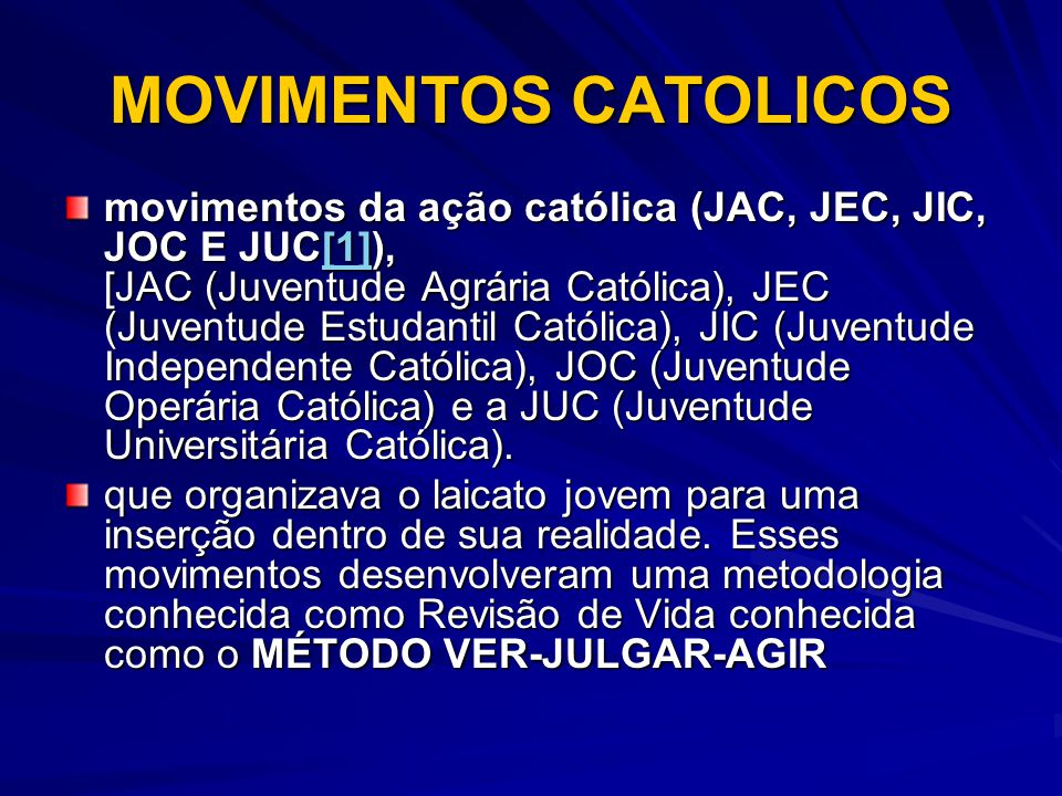 MOVIMENTOS CATOLICOS