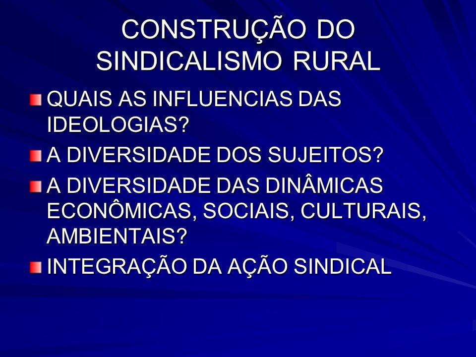 CONSTRUÇÃO DO SINDICALISMO RURAL