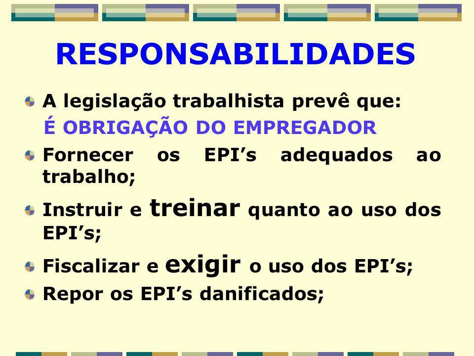 RESPONSABILIDADES A legislação trabalhista prevê que: