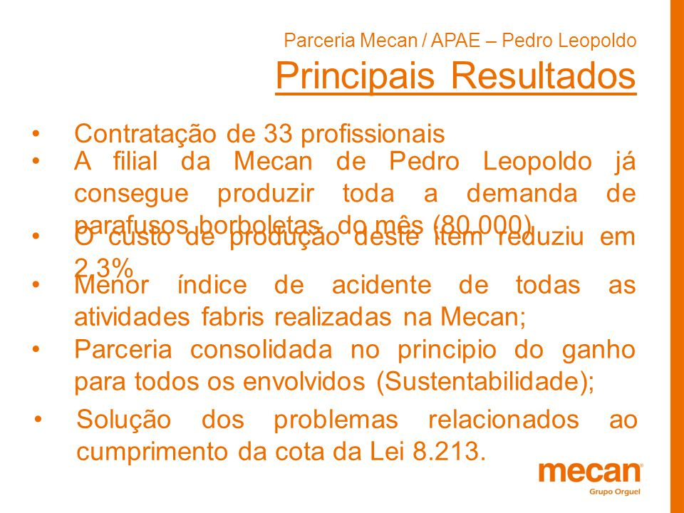 Parceria Mecan / APAE – Pedro Leopoldo Principais Resultados