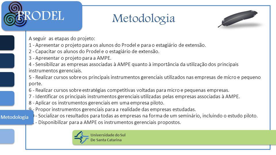 PRODEL Metodologia A seguir as etapas do projeto: