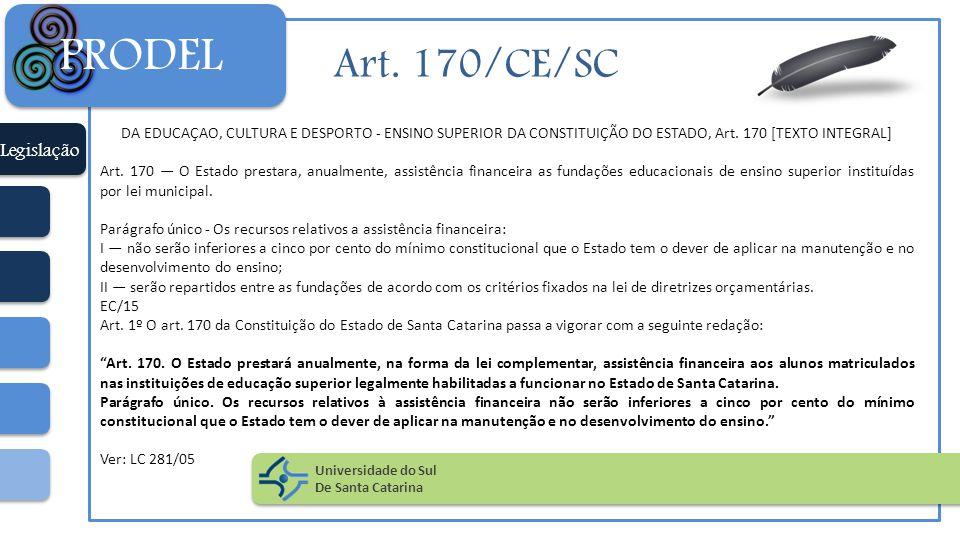 PRODEL Art. 170/CE/SC Legislação