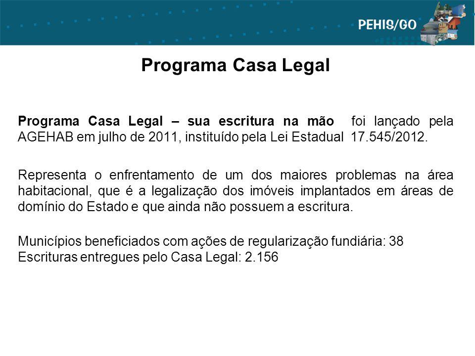 Programa Casa Legal Programa Casa Legal – sua escritura na mão foi lançado pela AGEHAB em julho de 2011, instituído pela Lei Estadual 17.545/2012.