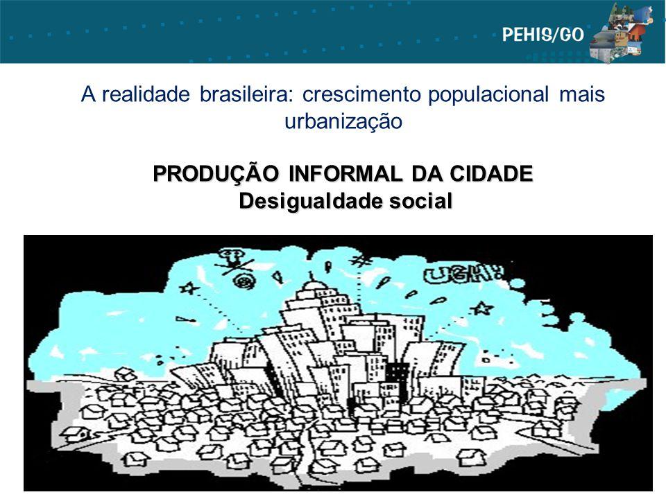 A realidade brasileira: crescimento populacional mais urbanização PRODUÇÃO INFORMAL DA CIDADE Desigualdade social