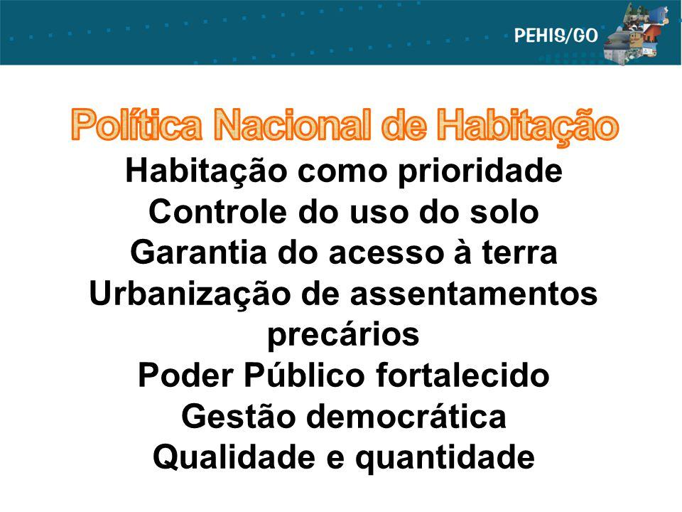 Política Nacional de Habitação Habitação como prioridade Controle do uso do solo Garantia do acesso à terra Urbanização de assentamentos precários Poder Público fortalecido Gestão democrática Qualidade e quantidade