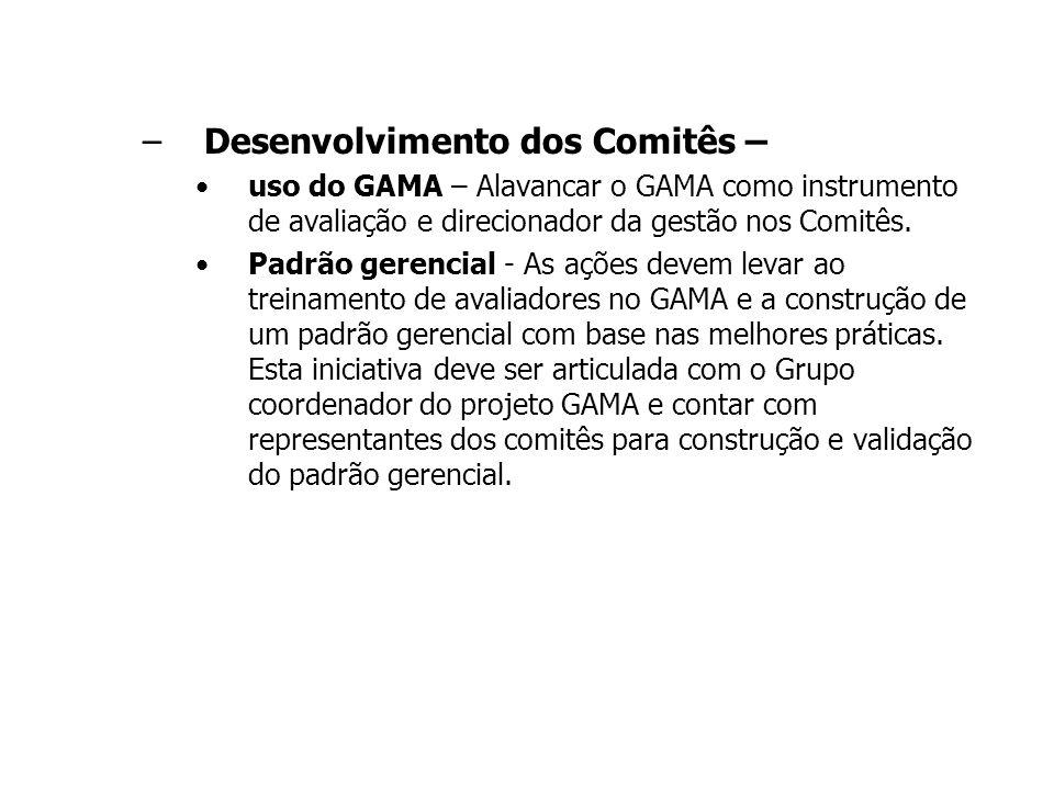 Desenvolvimento dos Comitês –