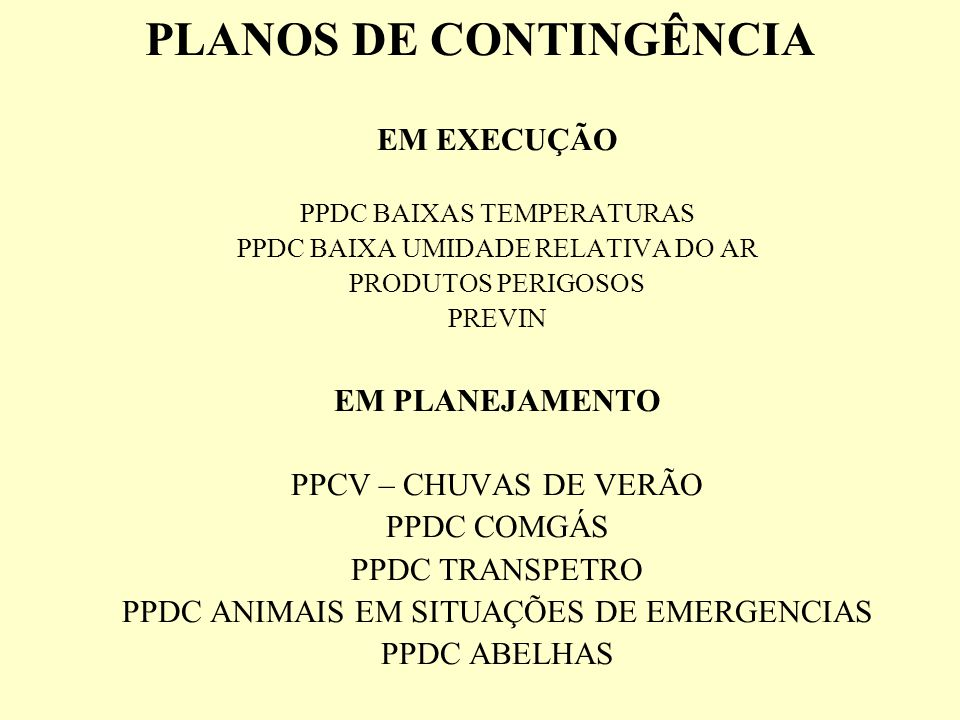PLANOS DE CONTINGÊNCIA