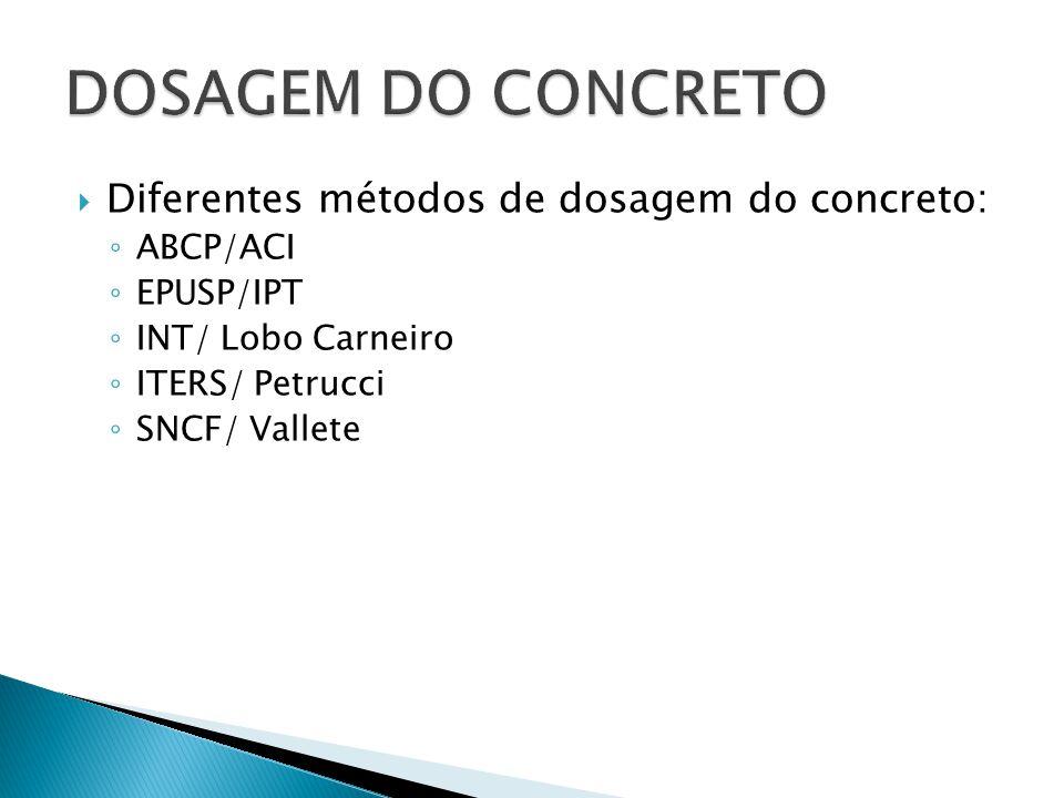 DOSAGEM DO CONCRETO Diferentes métodos de dosagem do concreto: