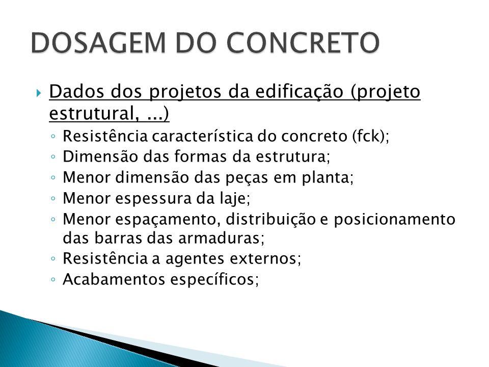 DOSAGEM DO CONCRETO Dados dos projetos da edificação (projeto estrutural, ...) Resistência característica do concreto (fck);