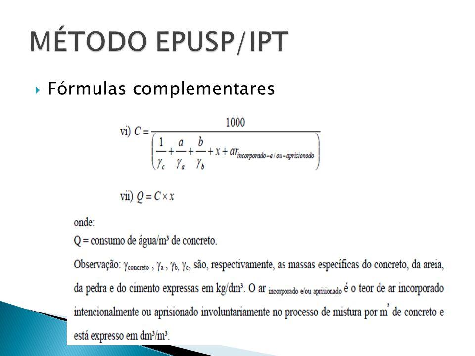 MÉTODO EPUSP/IPT Fórmulas complementares