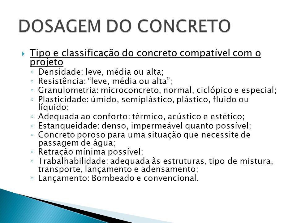DOSAGEM DO CONCRETO Tipo e classificação do concreto compatível com o projeto. Densidade: leve, média ou alta;