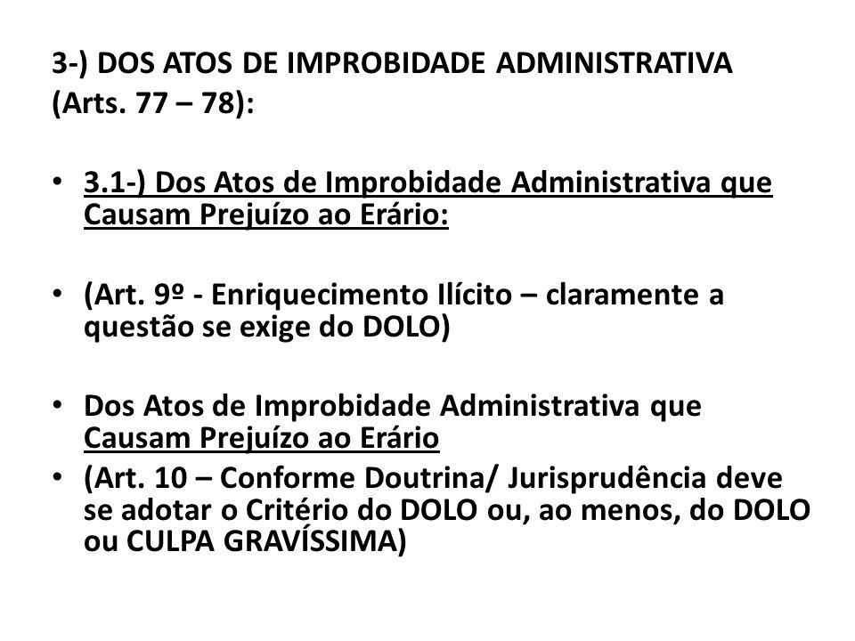 3-) DOS ATOS DE IMPROBIDADE ADMINISTRATIVA