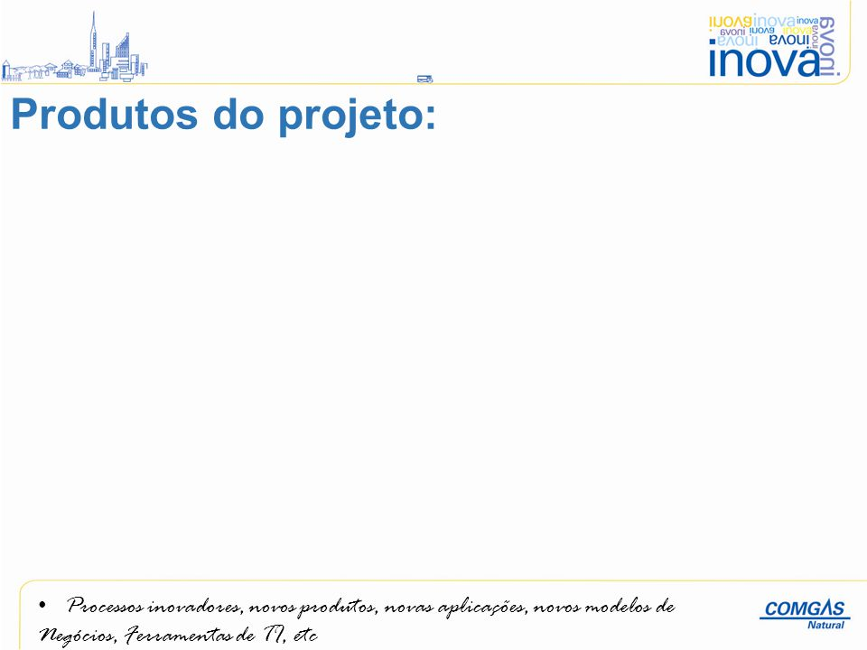 Produtos do projeto: Processos inovadores, novos produtos, novas aplicações, novos modelos de.
