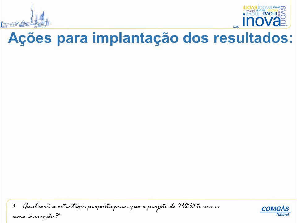 Ações para implantação dos resultados:
