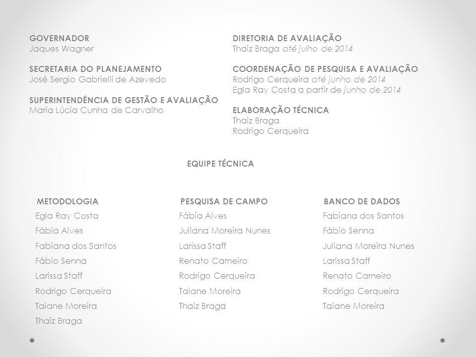 GOVERNADOR Jaques Wagner SECRETARIA DO PLANEJAMENTO José Sergio Gabrielli de Azevedo SUPERINTENDÊNCIA DE GESTÃO E AVALIAÇÃO Maria Lúcia Cunha de Carvalho DIRETORIA DE AVALIAÇÃO Thaiz Braga até julho de 2014 COORDENAÇÃO DE PESQUISA E AVALIAÇÃO Rodrigo Cerqueira até junho de 2014 Egla Ray Costa a partir de junho de 2014 ELABORAÇÃO TÉCNICA Thaiz Braga Rodrigo Cerqueira