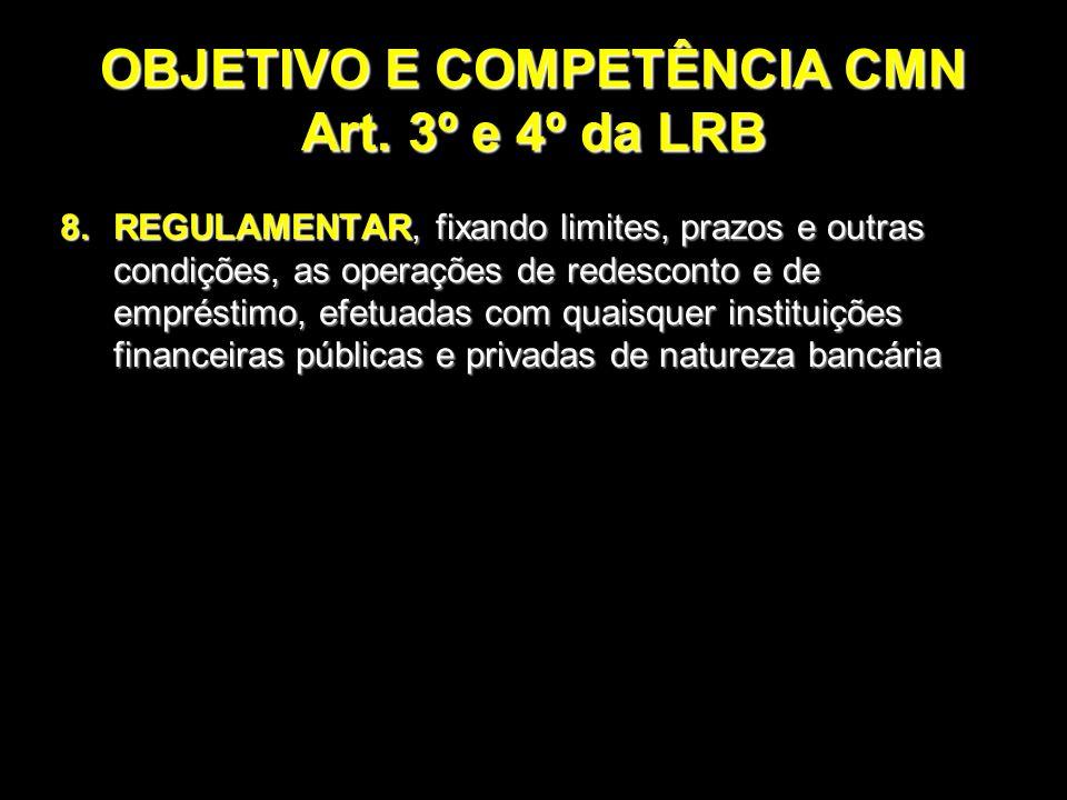 OBJETIVO E COMPETÊNCIA CMN Art. 3º e 4º da LRB