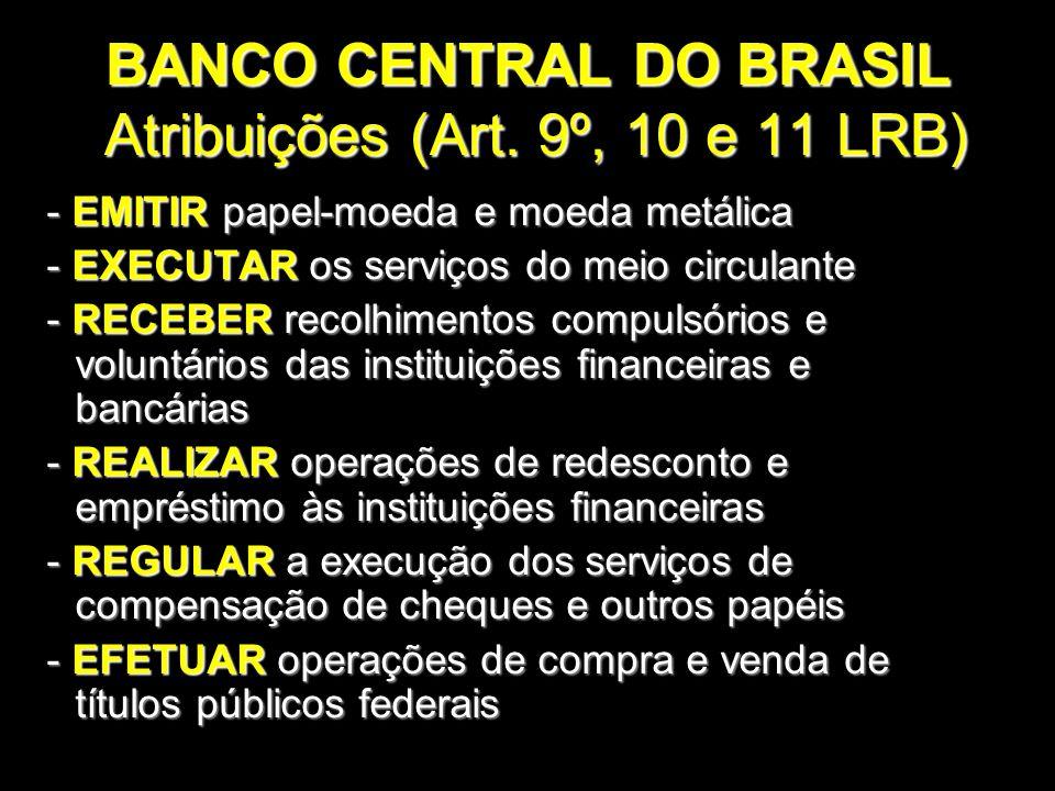 BANCO CENTRAL DO BRASIL Atribuições (Art. 9º, 10 e 11 LRB)
