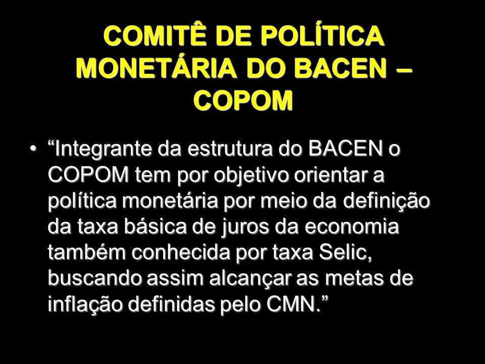 COMITÊ DE POLÍTICA MONETÁRIA DO BACEN – COPOM