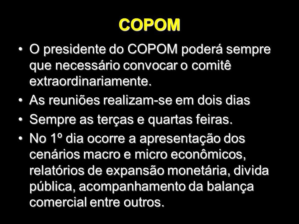 COPOM O presidente do COPOM poderá sempre que necessário convocar o comitê extraordinariamente. As reuniões realizam-se em dois dias.