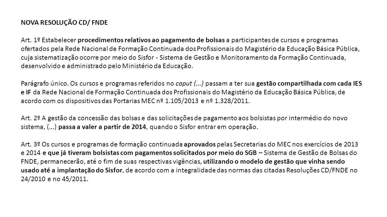 NOVA RESOLUÇÃO CD/ FNDE