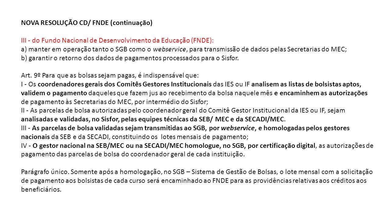 NOVA RESOLUÇÃO CD/ FNDE (continuação)