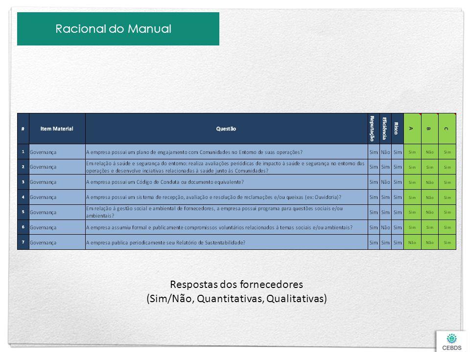 Respostas dos fornecedores (Sim/Não, Quantitativas, Qualitativas)