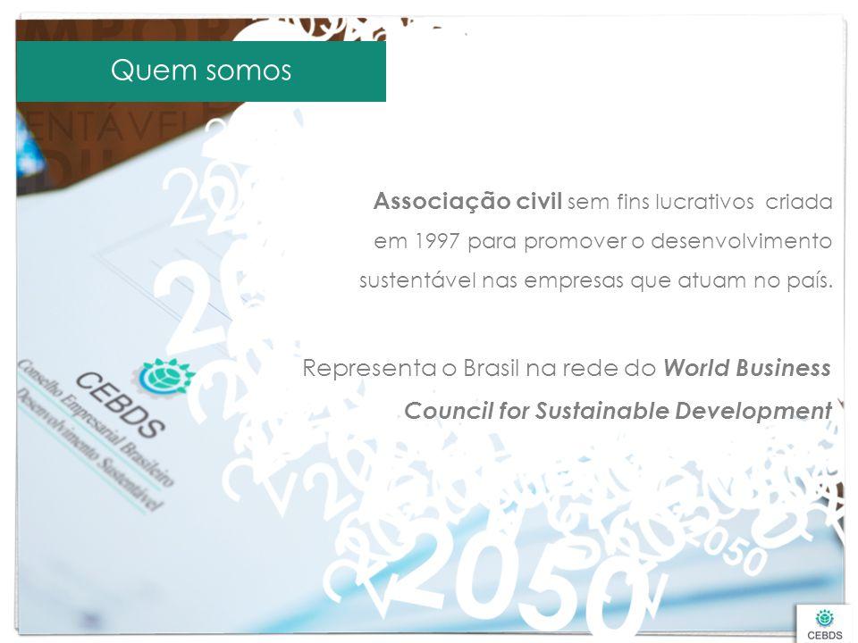 Quem somos Associação civil sem fins lucrativos criada em 1997 para promover o desenvolvimento sustentável nas empresas que atuam no país.