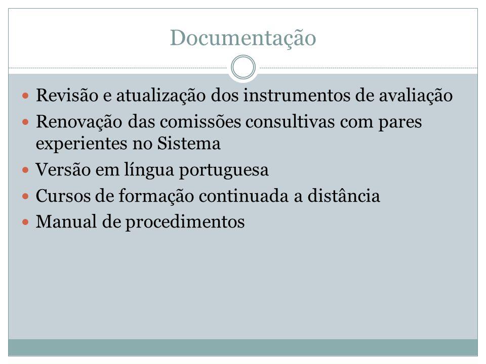 Documentação Revisão e atualização dos instrumentos de avaliação