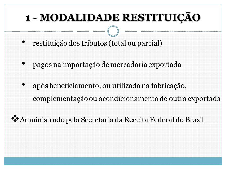 1 - MODALIDADE RESTITUIÇÃO